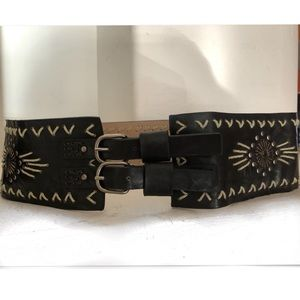 Steve Madden Boho Double Buckle Leather Belt SZ L